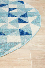 Load image into Gallery viewer, Mirage Illusion Modern Geo Blue Ivory Round Rug