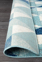 Load image into Gallery viewer, Mirage Illusion Modern Geo Blue Ivory Runner Rug