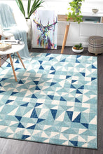Load image into Gallery viewer, Mirage Illusion Modern Geo Blue Ivory Rug