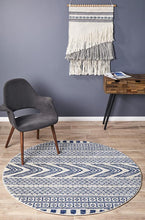 Load image into Gallery viewer, Mirage Adani  Modern Tribal Design Navy Round Rug