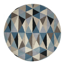 Load image into Gallery viewer, Matrix Pure Wool Turquoise Round Rug