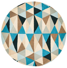 Load image into Gallery viewer, Matrix Pure Wool 901 Turquoise Round Rug
