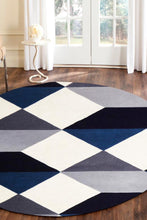 Load image into Gallery viewer, Matrix Pure Wool Steel Round Rug
