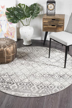 Load image into Gallery viewer, Oasis Zakira Dark Grey Tribal Round Rug