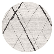 Load image into Gallery viewer, Oasis Noah White Grey Contemporary Round Rug