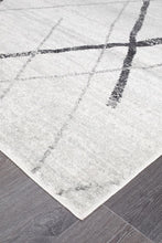 Load image into Gallery viewer, Oasis Noah White Grey Contemporary Runner Rug