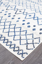 Load image into Gallery viewer, Oasis Nadia White Blue Rustic Tribal Runner Rug