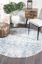 Load image into Gallery viewer, Oasis Ismail White Blue Rustic Round Rug