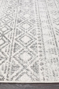 Oasis Ismail White Grey Rustic Runner Rug