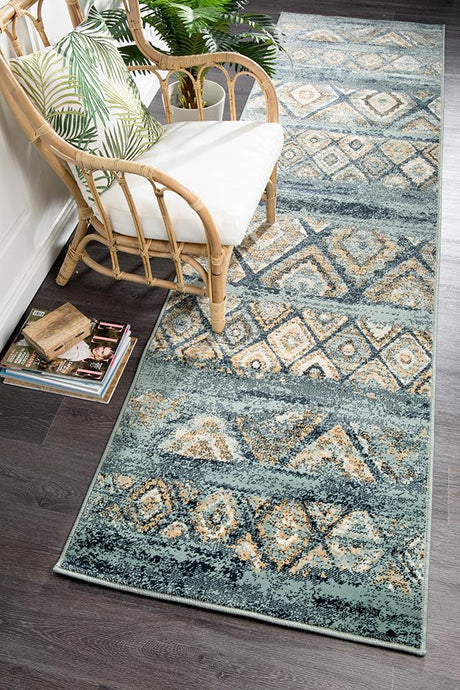 Oxford Mayfair Contrast Blue Runner Rug