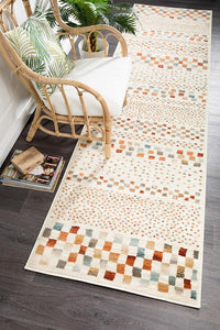Oxford Mayfair Squares Bone Runner Rug