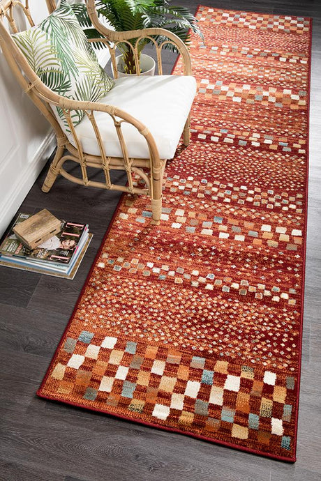 Oxford Mayfair Squares Rust Runner Rug