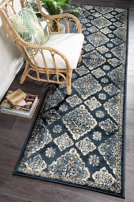 Oxford Mayfair Timeline Navy Runner Rug