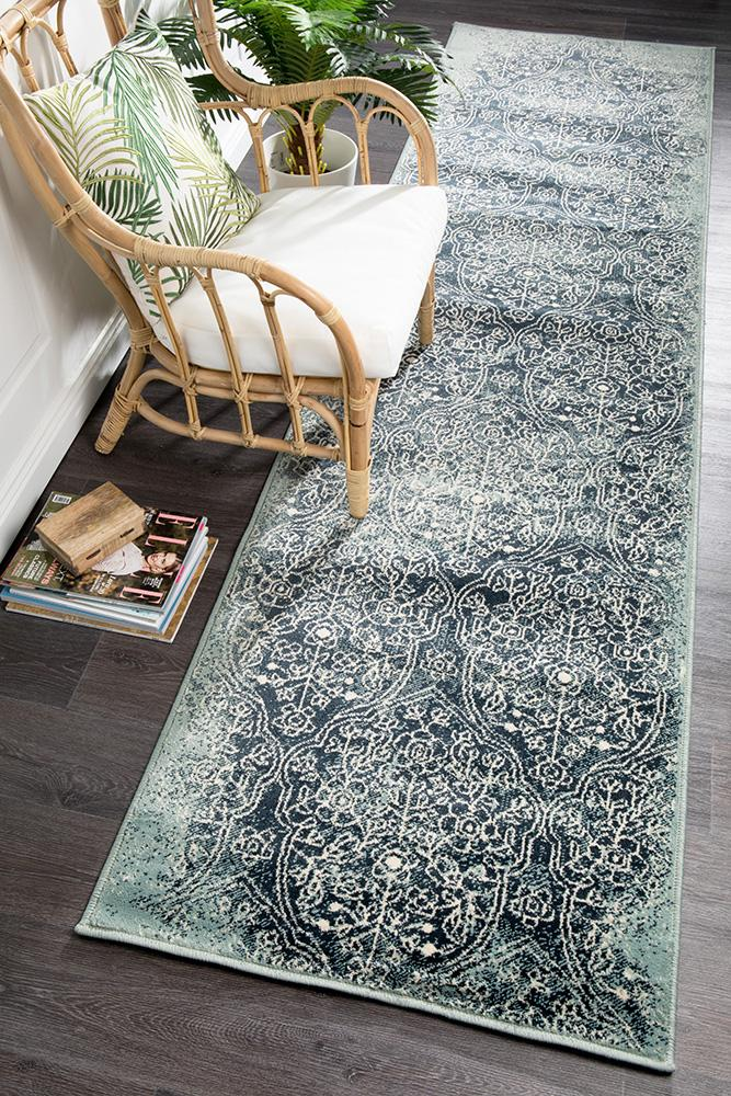Oxford Mayfair Edge Denim Runner Rug