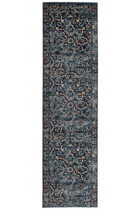 Oxford Mayfair Stem Navy Runner Rug
