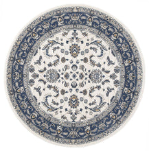 Load image into Gallery viewer, Palace Aisha Oriental Round Rug White Blue