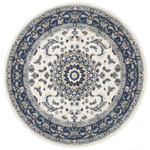 Load image into Gallery viewer, Palace Manal Oriental Round Rug White Blue
