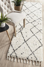 Load image into Gallery viewer, Saffron 44 White Runner Rug