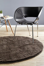 Load image into Gallery viewer, Soho Round Shag Rug Dark Brown