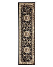 Load image into Gallery viewer, Sydney Medallion Runner Black With Ivory Border Runner Rug