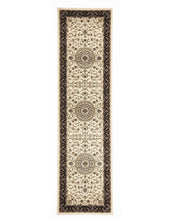 Load image into Gallery viewer, Sydney Medallion Runner Ivory With Black Border Runner Rug