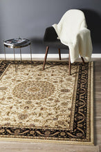 Load image into Gallery viewer, Sydney Collection Medallion Rug Ivory With Black Border