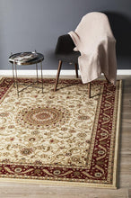 Load image into Gallery viewer, Sydney Collection Medallion Rug Ivory With Red Border