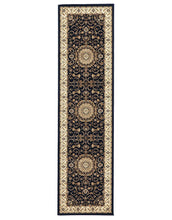 Load image into Gallery viewer, Sydney Medallion Runner Blue With Ivory Border Runner Rug