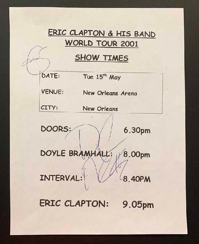 Eric Clapton & Doyle Bramhall Concert Show Time Page