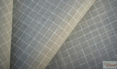 Natural Linen with White Small Checks