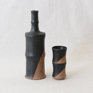 Black Bamboo Sake Bottle and Sippers