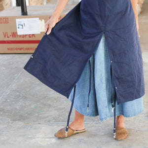 Split Leg Apron in Navy