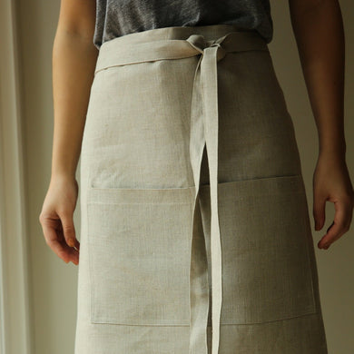 Heavy Linen Half Apron in Natural
