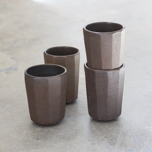 Tall Faceted Ebony Tumbler