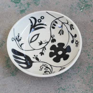Black & White Floral Bowl