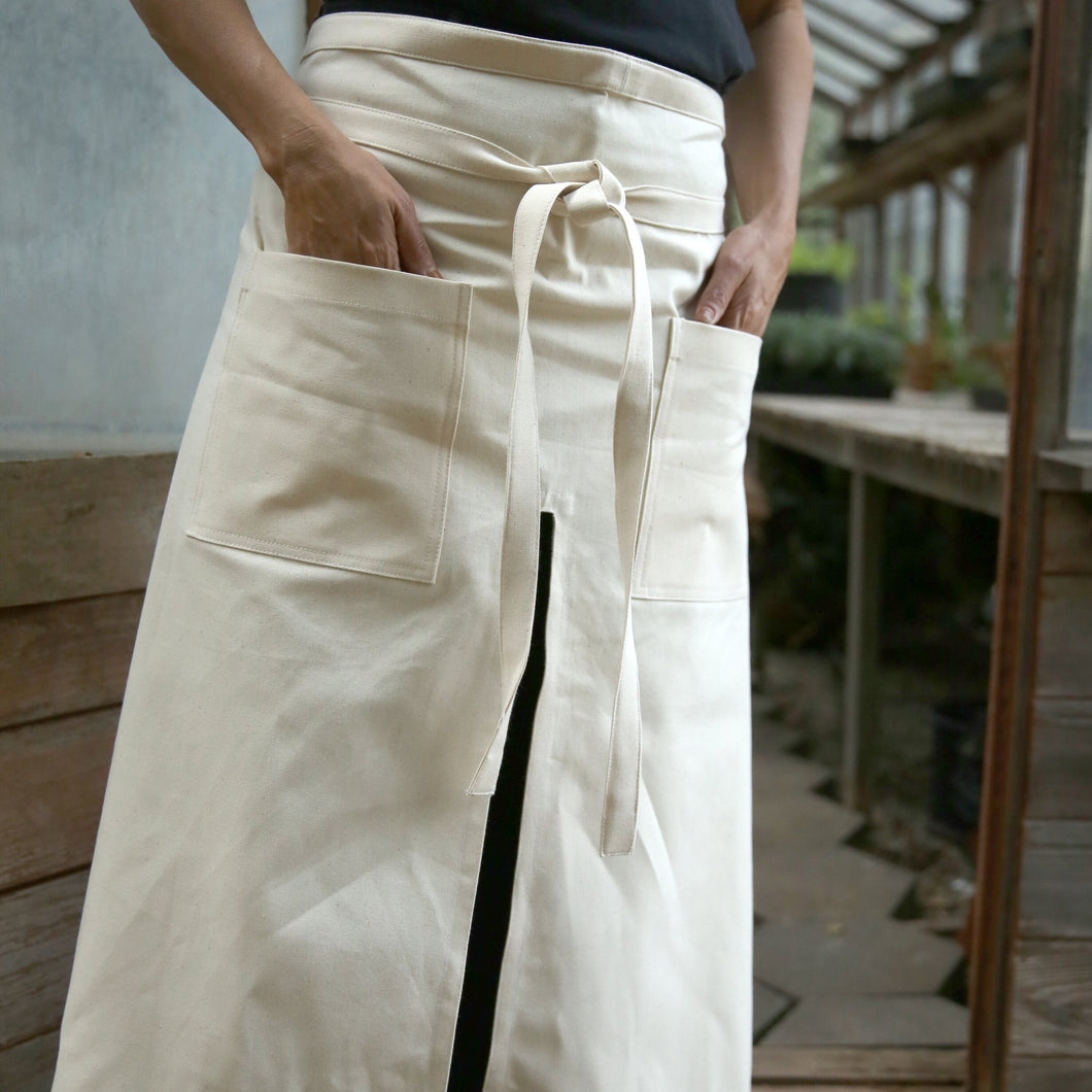 Heavy Cotton Twill Potter's Apron in Cream Canvas