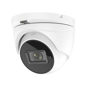 5MP HD TVI Advanced EXIR Armored Dome Camera, Varifocal, Motorized Zoom, White/Black Face