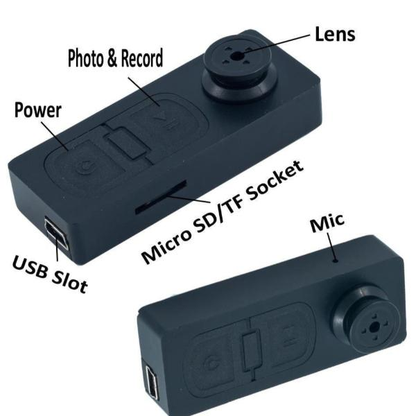 Button Hole Spy Cam Real-time AV Recording