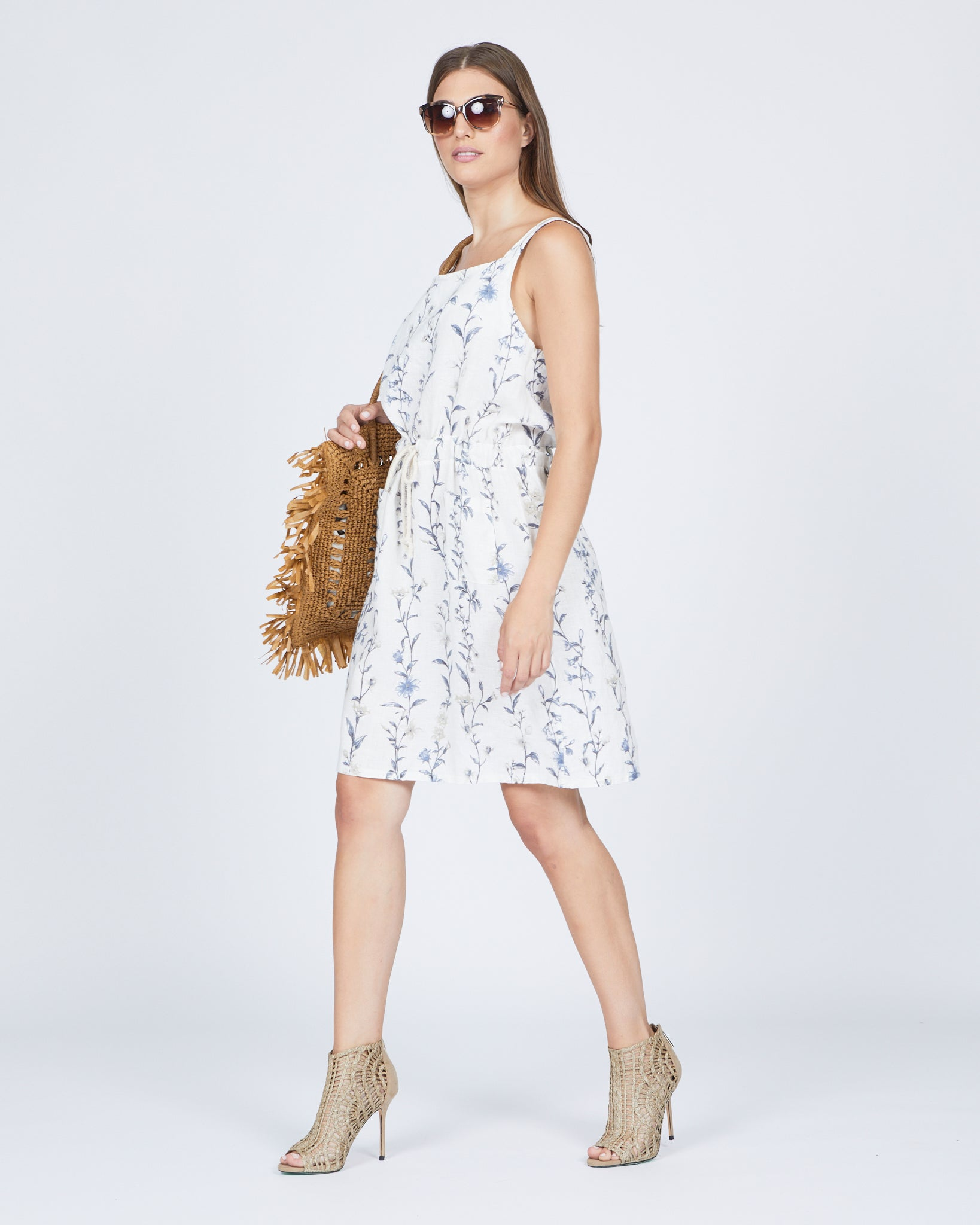 Linen Floral Jumper Dress w/ Drawstring Waist