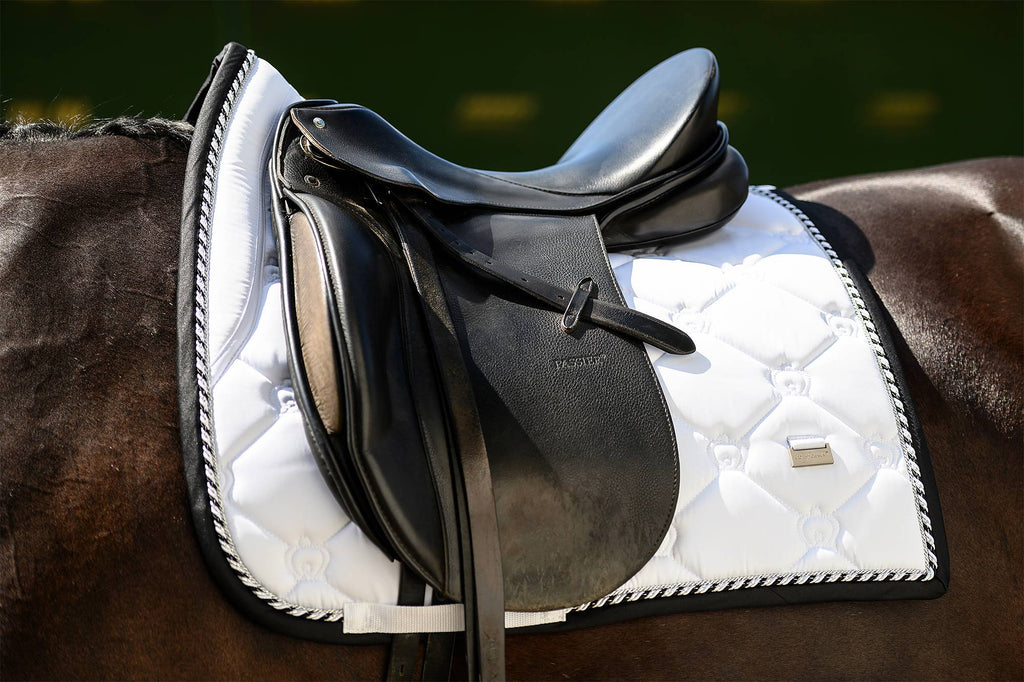 PS of Sweden Win Round Dressage Saddle Pad - White - The Dressage Store