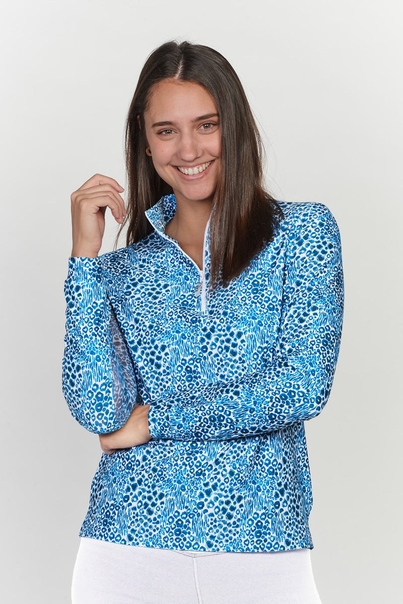 EIS Calima - Blue Leopard Patterned Long Sleeve - The Dressage Store