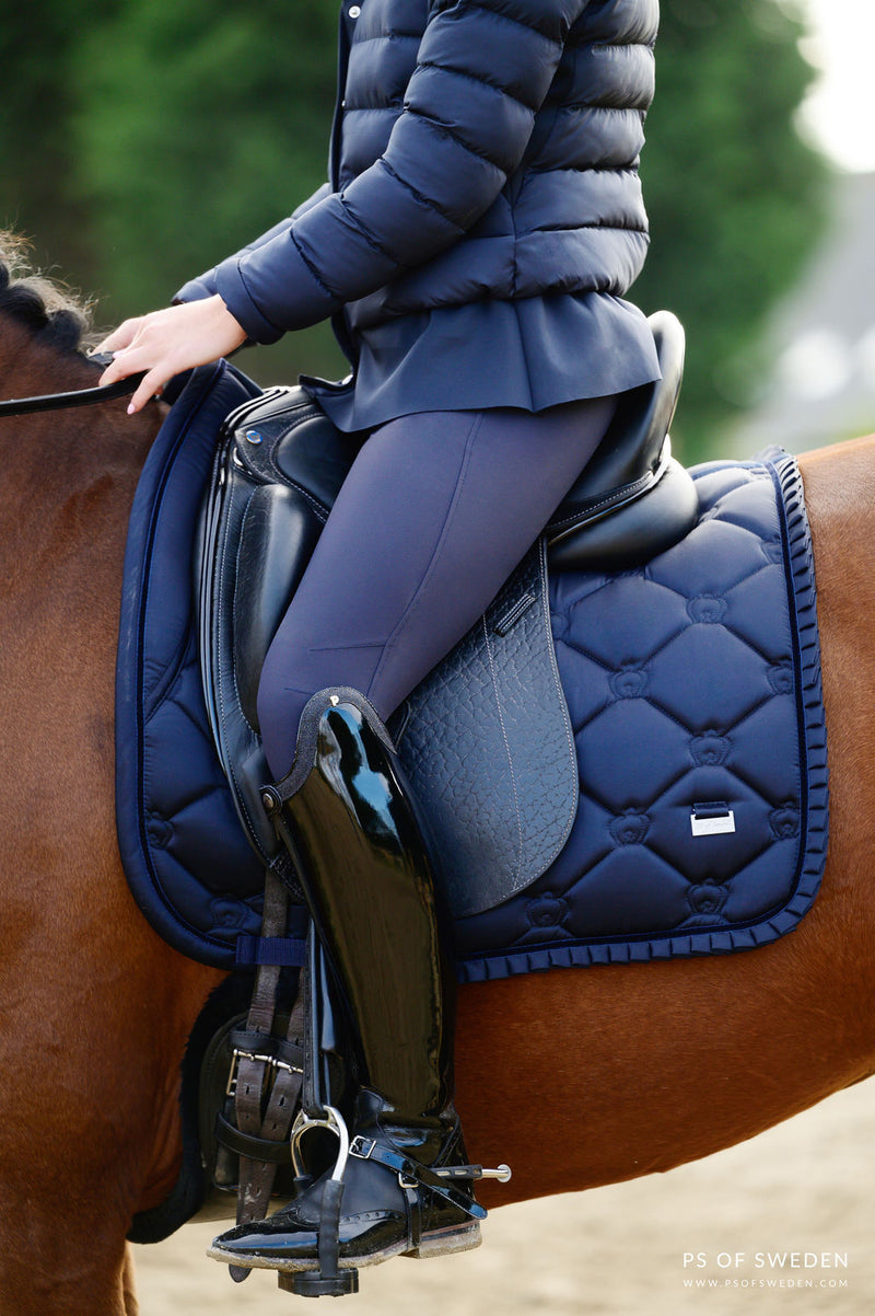 PS of Sweden Ruffle Saddle Pad - Navy - The Dressage Store