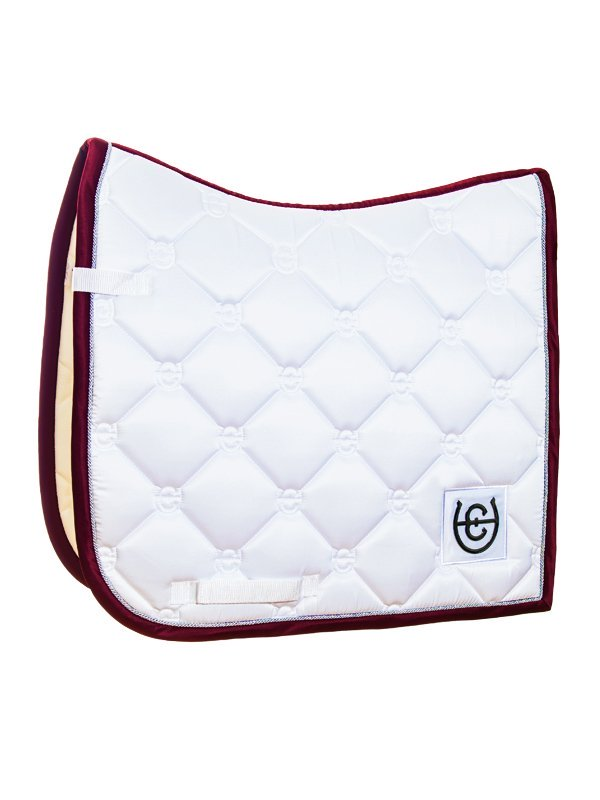 Equestrian Stockholm Dressage Saddle Pad - White Perfection (Bordeaux Edging) - The Dressage Store