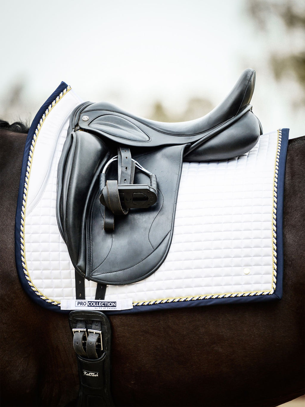 PS of Sweden PRO 2 White/Navy Dressage Saddle Pad - The Dressage Store