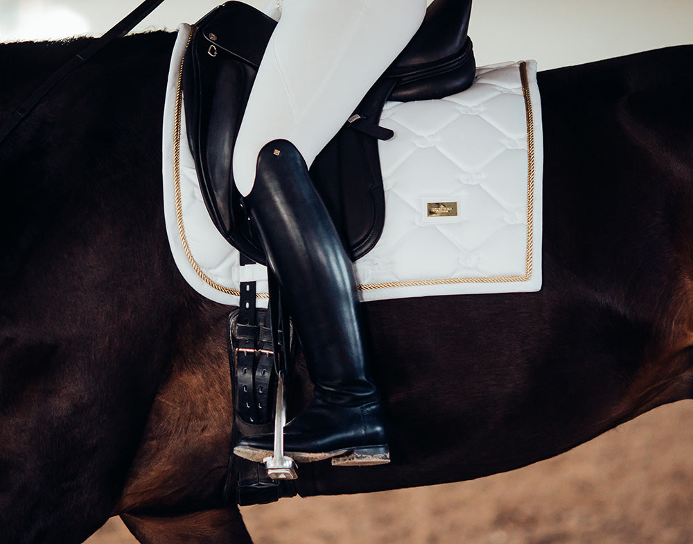 Equestrian Stockholm Dressage Saddle Pad - White Perfection (Gold Piping) - The Dressage Store