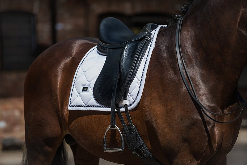 White Perfection Dressage Saddle Pad (Blue and Silver Piping) - The Dressage Store