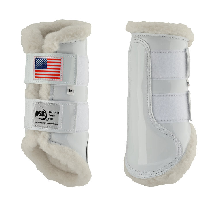 DSB Glossy White with American Flag Boots - The Dressage Store