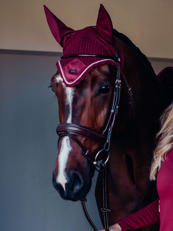 Equestrian Stockholm Ear Bonnet - Bordeaux - The Dressage Store