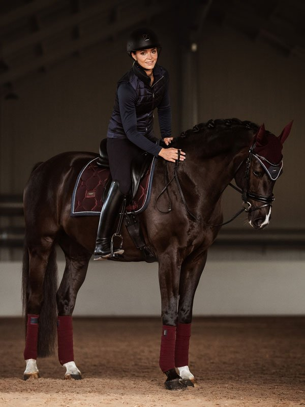 Equestrian Stockholm Dressage Saddle Pad - Merlot with Crystal - The Dressage Store