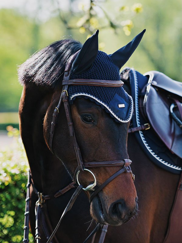 Equestrian Stockholm Ear Bonnet - Midnight Blue - The Dressage Store